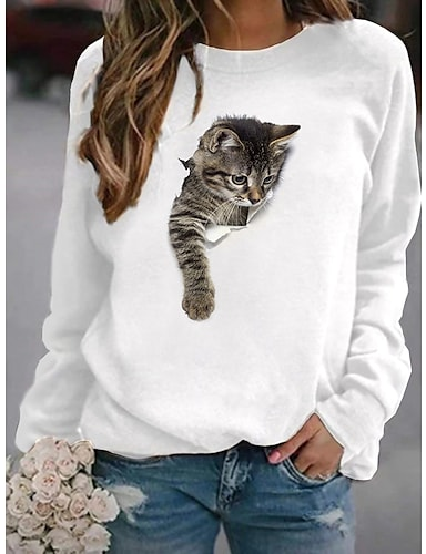 cheap Women's Clothing-Women's Hoodie Sweatshirt Cat Graphic 3D Cartoon Casual Daily Other Prints Basic Hoodies Sweatshirts  White Yellow Blushing Pink