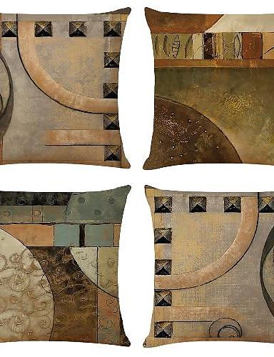 abordables Hogar y Jardín-funda de cojín 4pcs lino suave decorativo cuadrado funda de almohada funda de cojín funda de almohada para sofá dormitorio un lado calidad superior cojín lavable a máquina al aire libre para sofá