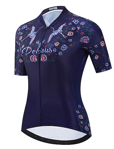 cheap Sports & Outdoors-21Grams Women's Short Sleeve Cycling Jersey Summer Polyester Dark Navy Bike Jersey Mountain Bike MTB Road Bike Cycling Breathable Reflective Strips Back Pocket Sports Clothing Apparel / Athletic