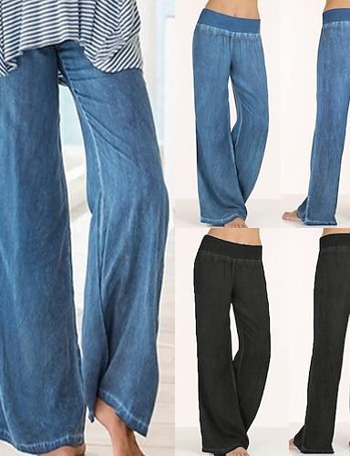 cheap Women's Bottoms-Women's High Waist Yoga Pants Elastic Waistband Palazzo Wide Leg Pants / Trousers Jeans Bottoms Tummy Control Quick Dry Moisture Wicking Blue Black Spandex Zumba Belly Dance Yoga Summer Plus Size