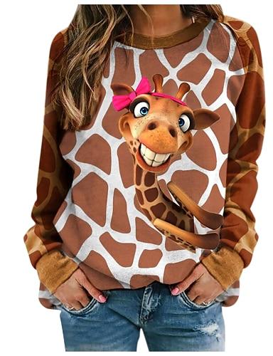 cheap Women's Clothing-Women's T shirt Floral Stripes Giraffe Long Sleeve Print Round Neck Tops Active Basic Basic Top White Blue Brown