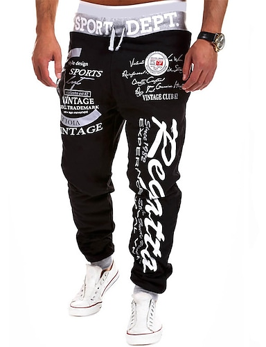 cheap Print Shorts & Trousers-mens Joggers pants Streetwear Sweatpants letter printed Trousers hip hop black 1 large