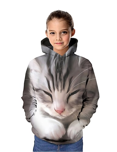 cheap Girls' Clothing-Kids Girls' Hoodie & Sweatshirt Long Sleeve Cat Graphic 3D Animal Print Blue Purple Red Children Tops Active