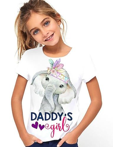 cheap Girls' Clothing-Kids Girls' T shirt Tee Short Sleeve Graphic Elephant Letter Animal Print White Children Tops Summer Active