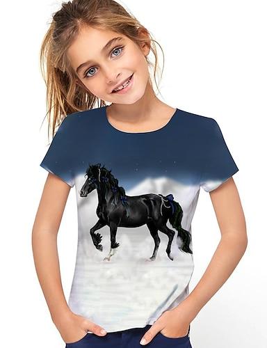 cheap Girls' Clothing-Kids Girls' T shirt Tee Short Sleeve Horse Unicorn Graphic 3D Animal Print Navy Blue Children Tops Active Cute Causal 2-13 Years