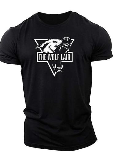 cheap Men's Clothing-Men's T shirt Shirt 3D Print Graphic Animal Print Short Sleeve Daily Tops Cotton Casual Sports Round Neck White Black Navy Blue / Summer