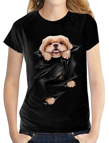 cheap Women's Clothing-Women's 3D Printed T shirt Dog Graphic 3D Print Round Neck Basic Tops 100% Cotton White Black