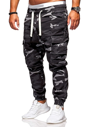 cheap Print Shorts & Trousers-Men's Cargo Daily Pants Tactical Cargo Pants Camouflage Full Length Black Army Green / Drawstring