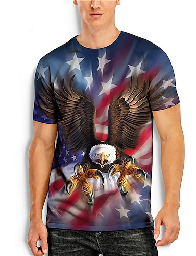 cheap Men's Clothing-Men's T shirt 3D Print Graphic Animal Print Short Sleeve Daily Tops Basic Casual Blue