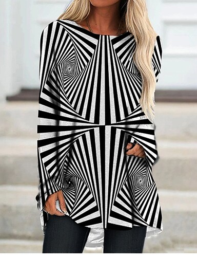 cheap Women's Clothing-Women's T Shirt Dress Tee Dress Short Mini Dress Black Long Sleeve Check Color Block Geometric Print Fall Spring Round Neck Casual 3D Print S M L XL XXL 3XL