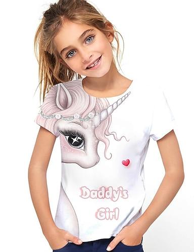 cheap Girls' Clothing-Kids Girls' T shirt Tee Short Sleeve Horse Unicorn Graphic 3D Letter Print White Children Tops Active Cute