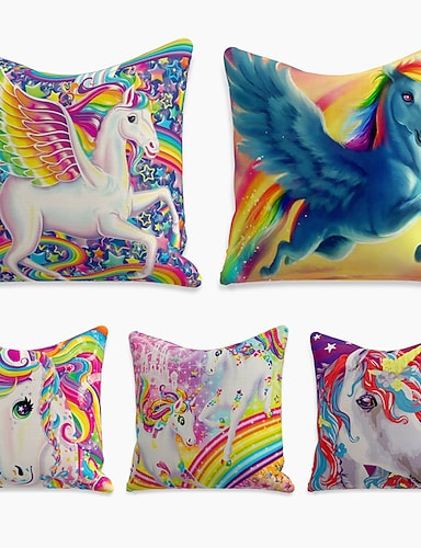 cheap Home & Garden-5 pcs Linen Pillow Cover, Animal Simple Casual Square Polyester Traditional Classic