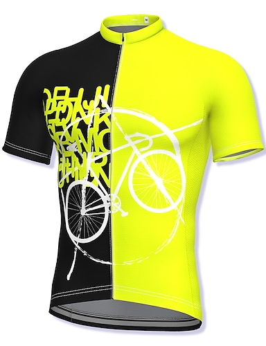 cheap Sports & Outdoors-21Grams Men's Short Sleeve Cycling Jersey Summer Polyester Yellow Bike Jersey Top Mountain Bike MTB Road Bike Cycling Quick Dry Moisture Wicking Breathable Sports Clothing Apparel / Athleisure