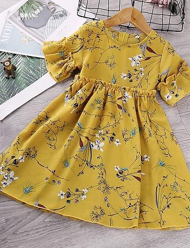 cheap Girls' Clothing-Kids Little Girls' Dress Floral Graphic Print White Yellow Short Sleeve Cute Dresses Regular Fit