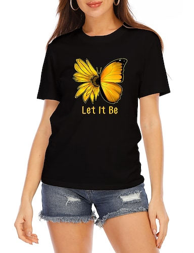 cheap Women's Clothing-Women's Going out Butterfly T shirt Graphic Butterfly Text Print Round Neck Basic Tops 100% Cotton White Black