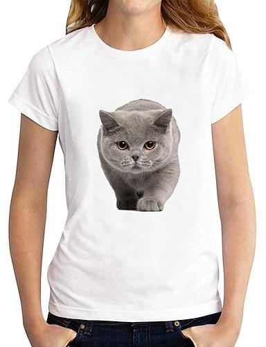 cheap Women's Clothing-Women's 3D Cat T shirt Cat Graphic 3D Print Round Neck Basic Tops 100% Cotton White Black