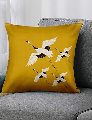 cheap Home & Garden-Double Side 1 Pc Bird Cushion Cover  Print 45x45cm Linen for Sofa Bedroom