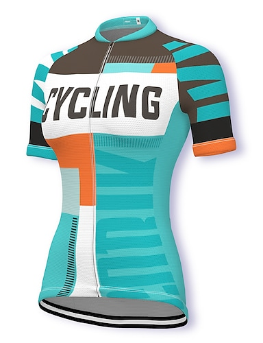 cheap Sports & Outdoors-21Grams Women's Short Sleeve Cycling Jersey Summer Spandex Polyester Blue Bike Jersey Top Mountain Bike MTB Road Bike Cycling Quick Dry Moisture Wicking Breathable Sports Clothing Apparel / Stretchy
