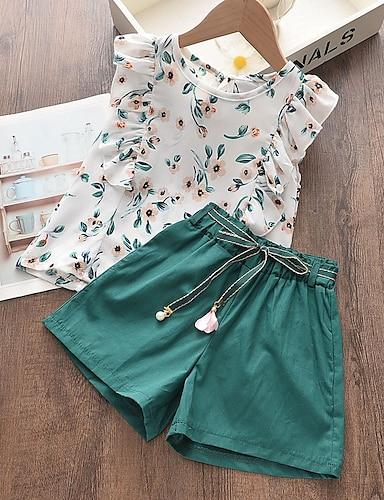cheap Girls' Clothing-Kids Girls' Clothing Set Sleeveless White Geometric Basic