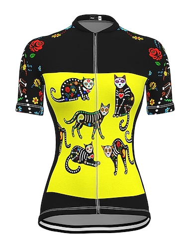 cheap Sports & Outdoors-21Grams Women's Short Sleeve Cycling Jersey Summer Spandex Polyester Yellow Cat Bike Jersey Top Mountain Bike MTB Road Bike Cycling Quick Dry Moisture Wicking Breathable Sports Clothing Apparel