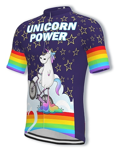 cheap Sports & Outdoors-21Grams Men's Short Sleeve Cycling Jersey Summer Spandex Polyester Purple Rainbow Unicorn Bike Jersey Top Mountain Bike MTB Road Bike Cycling Quick Dry Moisture Wicking Breathable Sports Clothing