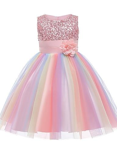 abordables Ropa de Niña-vestido de niñas pequeñas fiesta de flores de arco iris vestidos de tutú lentejuelas lazo plisado azul púrpura rubor rosa hasta la rodilla sin mangas vestidos lindos 2-12 años
