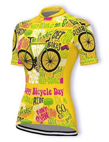 cheap Sports & Outdoors-21Grams Women's Short Sleeve Cycling Jersey Summer Spandex Polyester Dark Pink Yellow Light Green Bike Jersey Top Mountain Bike MTB Road Bike Cycling Quick Dry Moisture Wicking Breathable Sports