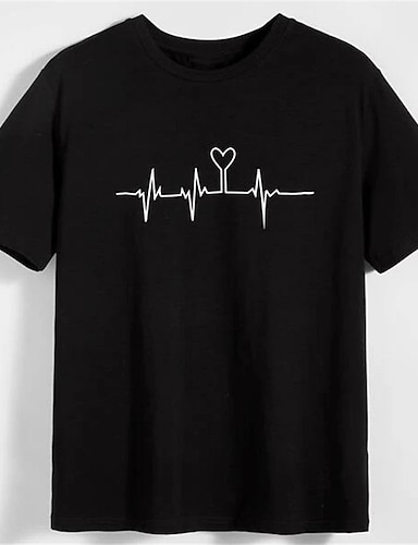 cheap Graphic Tees-Men's Unisex T shirt Shirt Hot Stamping Heart Graphic Prints Plus Size Print Short Sleeve Daily Tops 100% Cotton Basic Fashion Classic Round Neck Black / Summer