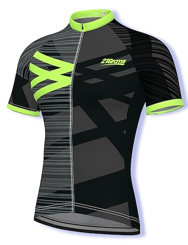 cheap Sports & Outdoors-21Grams Men's Short Sleeve Cycling Jersey Summer Spandex Polyester Black Stripes Bike Jersey Top Mountain Bike MTB Road Bike Cycling Quick Dry Moisture Wicking Breathable Sports Clothing Apparel