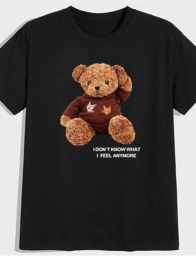 cheap Graphic Tees-Men's Unisex T shirt Hot Stamping Graphic Prints Toy Bear Plus Size Print Short Sleeve Daily Tops 100% Cotton Basic Fashion Classic Black