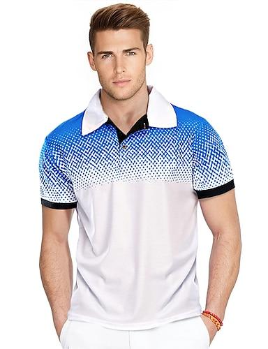 cheap Men's Clothing-Men's Golf Shirt Color Block Plus Size Print Short Sleeve Daily Tops Business Basic White Red Black / Work