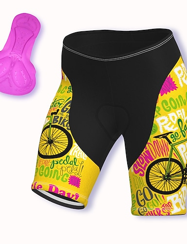 cheap Cycling Pants, Shorts, Tights-21Grams Women's Cycling Shorts Summer Spandex Polyester Bike Shorts Pants Padded Shorts / Chamois 3D Pad Quick Dry Moisture Wicking Sports Red / Yellow / Blue Mountain Bike MTB Road Bike Cycling