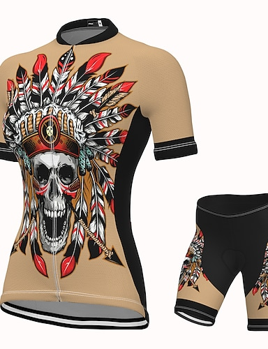 cheap Sports & Outdoors-21Grams Women's Short Sleeve Cycling Jersey with Shorts Summer Spandex Polyester Khaki Skull Bike Clothing Suit 3D Pad Quick Dry Moisture Wicking Breathable Reflective Strips Sports Graphic Mountain