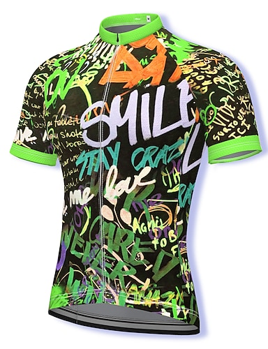 cheap Sports & Outdoors-21Grams Men's Short Sleeve Cycling Jersey Summer Spandex Polyester Green Bike Jersey Top Mountain Bike MTB Road Bike Cycling Quick Dry Moisture Wicking Breathable Sports Clothing Apparel / Athleisure