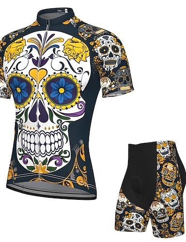 cheap Sports & Outdoors-21Grams Men's Short Sleeve Cycling Jersey with Shorts Summer Spandex Polyester Dark Navy Sugar Skull Skull Bike Clothing Suit 3D Pad Quick Dry Moisture Wicking Breathable Reflective Strips Sports
