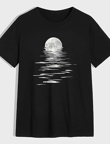 cheap Graphic Tees-Men's Unisex Tee T shirt Shirt Hot Stamping Graphic Prints Moon Plus Size Print Short Sleeve Casual Tops 100% Cotton Basic Designer Big and Tall Round Neck Black / Summer