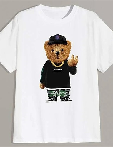 cheap Graphic Tees-Men's Unisex T shirt Hot Stamping Graphic Prints Toy Bear Plus Size Print Short Sleeve Daily Tops 100% Cotton Basic Fashion Classic White
