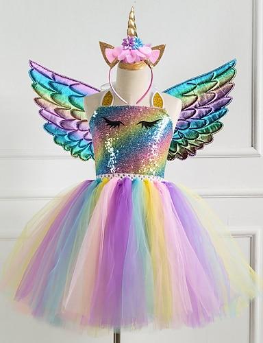 abordables Ropa de Niña-Vestido para niñas pequeñas 3 piezas unicornio princesa arco iris fiesta colorida tutu vestidos de cumpleaños con ala y diadema lentejuelas halter púrpura oro plata vestidos lindos 2-8 años