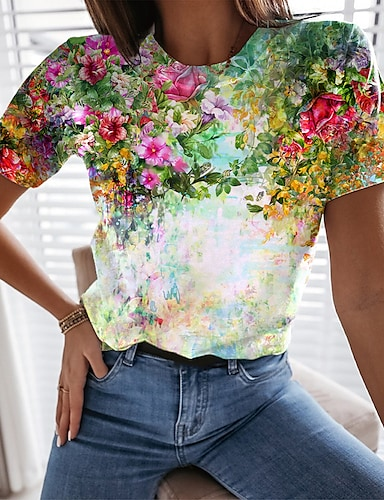 cheap Women's Clothing-Women's Floral Theme Painting T shirt Floral Graphic 3D Print Round Neck Basic Tops White Blue Purple