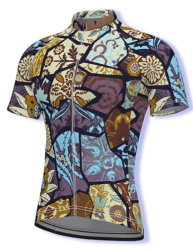 cheap Sports & Outdoors-21Grams Men's Short Sleeve Cycling Jersey Summer Spandex Polyester Purple Hawaii Bike Jersey Top Mountain Bike MTB Road Bike Cycling Quick Dry Moisture Wicking Breathable Sports Clothing Apparel