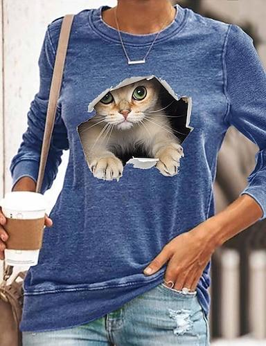 cheap Women's Tops-Women's 3D Cat T shirt Cat Graphic 3D Long Sleeve Print Round Neck Basic Tops Black Blue Yellow