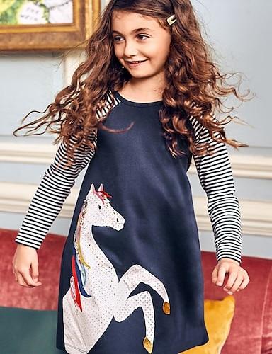 cheap Girls' Clothing-Kids Little Girls' Dress Unicorn Cartoon Stripes Causal Daily Black Blue Long Sleeve Cute Dresses Christmas Spring Summer 2-8 Years