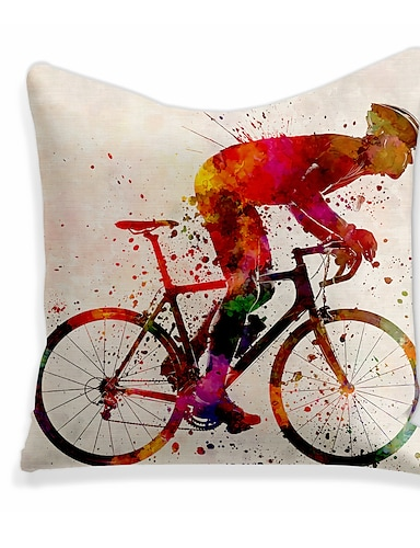 cheap Home & Garden-1 pcs Linen Pillow Cover, Tie Dyed Square Zipper Polyester Traditional Classic