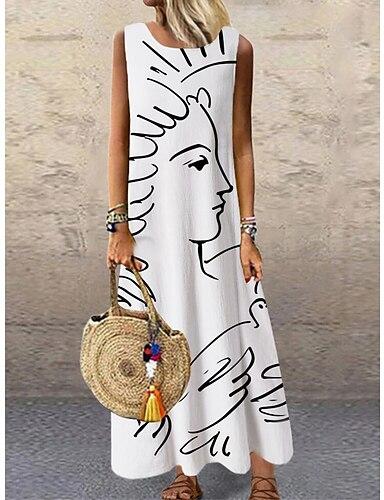cheap Women's Clothing-Women's Shift Dress Maxi long Dress White Sleeveless Print Color Block Print Spring Summer Round Neck Casual 2021 S M L XL XXL 3XL