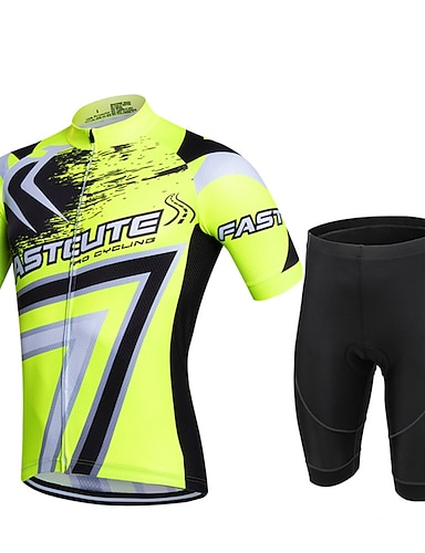 cheap Sports & Outdoors-21Grams Men's Short Sleeve Cycling Jersey with Shorts Summer Lycra Polyester Red Army Green Blue Geometic Plus Size Bike Shorts Pants / Trousers Jersey 3D Pad Quick Dry Breathable Back Pocket Sweat