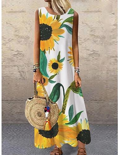 cheap Women's Clothing-Women's Shift Dress Maxi long Dress Yellow Sleeveless Floral Print Print Spring Summer Round Neck Casual 2021 S M L XL XXL 3XL