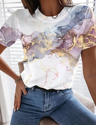 voordelige Dameskleding-Dames Abstract Geometrisch Verf T-shirt graffiti Opdruk Ronde hals Basic Tops Wit