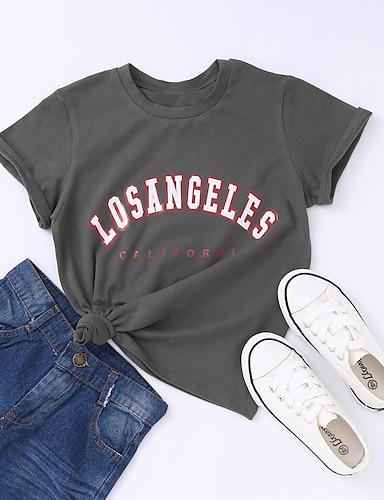 cheap Graphic Tees-Kids Girls' T shirt Tee Short Sleeve Letter Crewneck Unisex Gray Children Tops Summer Basic 4-12 Years