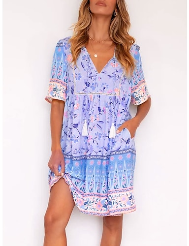 cheap Women's Clothing-Women's Shift Dress Knee Length Dress Blue Short Sleeve Floral Floral Style Loose Fit with Tassel Fall Summer V Neck Straped Elegant 2021 S M L XL XXL