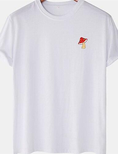 cheap Graphic Tees-Men's Unisex Tee T shirt Hot Stamping Mushroom Plus Size Short Sleeve Casual Tops 100% Cotton Basic Designer Big and Tall White Khaki Gray